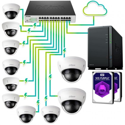 Pack vigilancia IP profesional 10 cámaras
