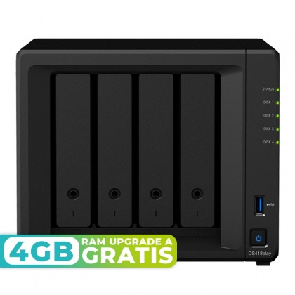 DS418play Servidor NAS 4 bahías - Intel Celeron J3355 dual-core 2GHz (hasta 2.5GHz) - 2GB DDR3L