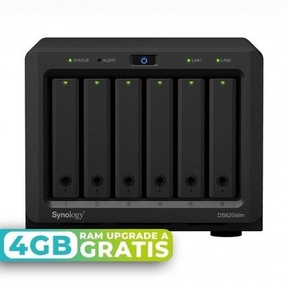 DS620Slim NAS 6 bahías - Intel Celeron J3355 2 núcleos 2.0GHz (hasta 2.5GHz), 2GB DDR3L (max 8GB)