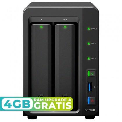 DS718+ NAS 2 bahías - Intel Celeron J3455 4 núcleos 1.5GHz (hasta 2.3GHz), 2GB DDR3 (max 10GB)