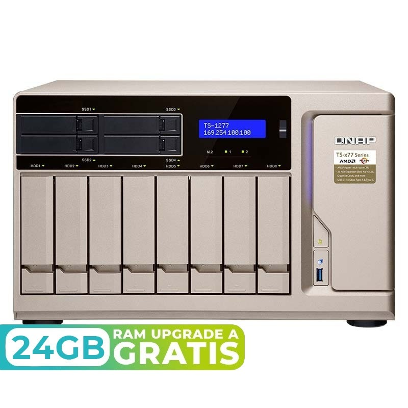 TS-1277-1700-16G NAS 12 Bahías (SSD x4 + M.2 SATA x2) - AMD Ryzen 7 1700 8 núcleos 3.0GHz (hasta 3.7 GHz), 16GB DDR4 (max 64GB)