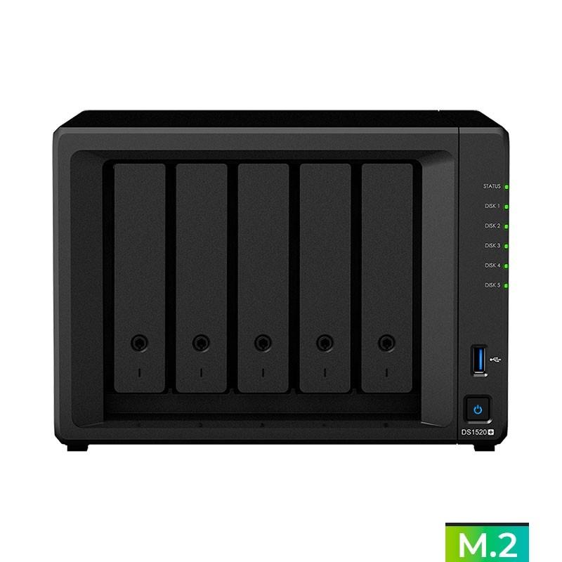 DS1520+  NAS 5 Bahías (M.2 NVMe x2) - Intel Celeron J4125 quad-core 2,0 GHz (hasta 2.7GHz) 8GB DDR4