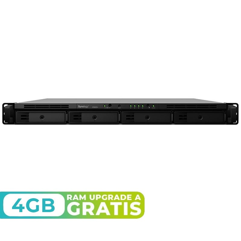 RS820+ NAS 4 Bahías Rack - Intel Atom C3538 4 núcleos 2.1GHz, 2GB DDR4 (max 18GB)