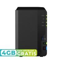 DS218+ NAS 2 bahías Intel Celeron J3355 Dual Core 2.0 GHz (Hasta 2.5GHz), 2GB de RAM DDR3L (Ampliable a 6GB)