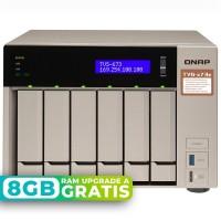 TVS-673e-4G NAS 6 Bahías (M.2 SATA x2) - AMD R-Series RX-421BD 4 núcleos 2.1 GHz (hasta 3.4 GHz), 4GB DDR4 (max 64GB)