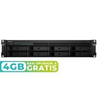 RS1219+ NAS 8 bahías Rack - Intel Atom C2538 4 núcleos 2.4GHz, 2GB DDR3 (max 16GB)