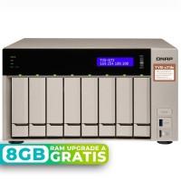 TVS-873e-4G NAS 8 Bahías (M.2 SATA x2) - AMD R-Series RX-421BD 4 núcleos 2.1 GHz (hasta 3.4 GHz), 4GB DDR4 (max 32GB)