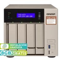 TVS-473e-4G NAS 4 Bahías (M.2 SATA x2) - AMD R-Series RX-421BD 4 núcleos 2.1 GHz (hasta 3.4 GHz), 4GB DDR4 (max 64GB)
