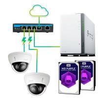 Pack vigilancia profesional 2 cámaras -  Grabación 30 días 24hrs