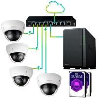Pack vigilancia IP profesional 4 cámaras -  Grabación 30 días 24hrs